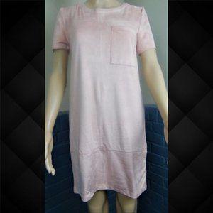 Allen B. Faux Suede Midi Blush Dress Size Medium